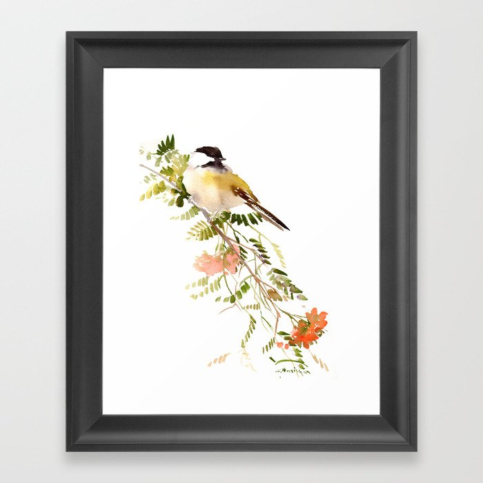 Chickadee Asian Style Bird and Flowers Zen brush painting Gerahmter Kunstdruck