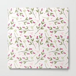 Cute Pink Delicate Flowers Pattern Metal Print