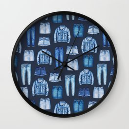 Denim Skirts, Jeans, Cutoff Shorts & Jean Jackets Wall Clock