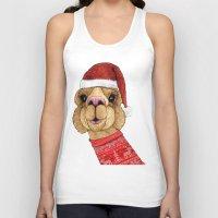 alpaca Tank Tops featuring Alpaca Christmas by Barruf