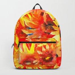 Blanket Flowers Bright Orange, Red, Yellow Flowers Backpack