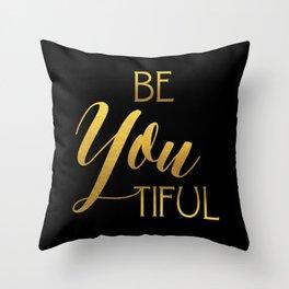 BeYoutiful Gold Foil Throw Pillow