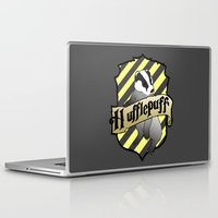 hufflepuff Laptop & iPad Skins featuring Hufflepuff Crest by AriesNamarie