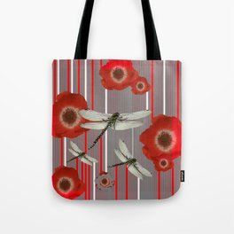 AWESOME DRAGONFLIES & RED POPPY FLOWERS ART Tote Bag