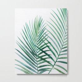 Emerald Palm Fronds Watercolor Metal Print