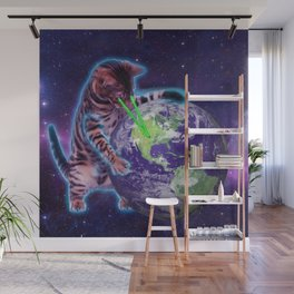 Cat destroying the world with eye laser Wall Mural