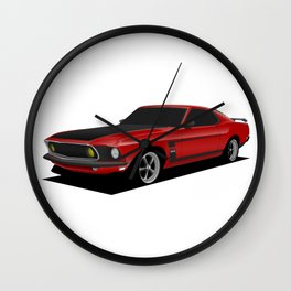 Mustang Boss Red Wall Clock