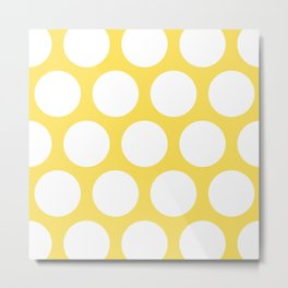 Large Polka Dots: Yellow Metal Print