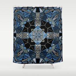 blue symmetric fantasy pattern IV Shower Curtain