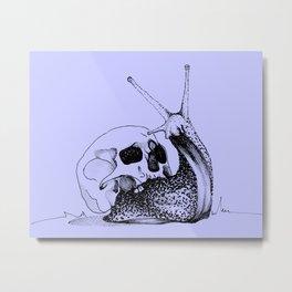 This Skull Is My Home (Snail & Skull) - Pastel Purple & Black Metal Print