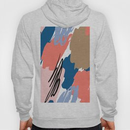 Pastel pink navy blue white abstract brushstrokes pattern Hoody