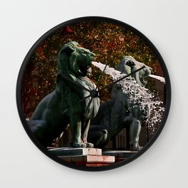 Lions in Paris by Lika Ramati Wall Clock