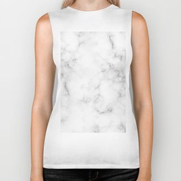 The Perfect Classic White with Grey Veins Marble Biker Tank