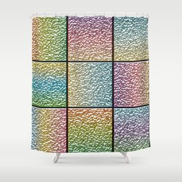 Pastel Rainbow Chrome Tiles Shower Curtain