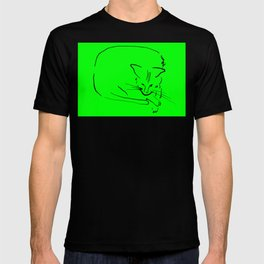 """Relaxing Cat on Light Green """"Paper Drawings/Painting"""" T-shirt"""