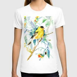 American Goldfinch, yellow sage green birds and flowers T-shirt