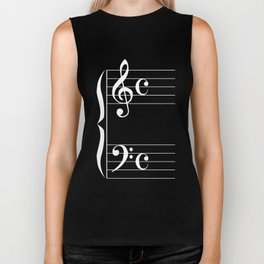 Bass And Treble Clef  Background Biker Tank