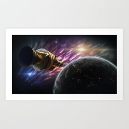 Space travel around planet Art Print