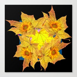 Golden Yellow Fall Leaves Sunflower Black Design Pattern Art Canvas Print