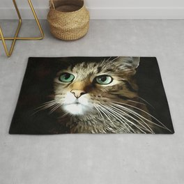 Tabby Cat With Green Eyes Isolated On Black Rug