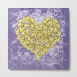 Gold butterflies on ultraviolet fractal texture Metal Print