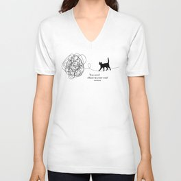 """Friedrich Nietzsche """"You need chaos in your soul"""" black cat literary quote Unisex V-Neck"""