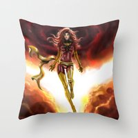 x men Throw Pillows featuring X-men-Phoenix... by Emiliano Morciano (Ateyo)