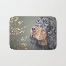 Gordon Setter dog portrait Autumn scene Bath Mat