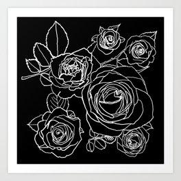 Feminine and Romantic Rose Pattern Line Work Illustration on Black Art Print