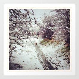 Snowy Dog Walk Art Print