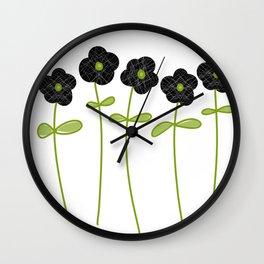 Black lacy flowers Wall Clock