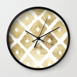 Modern chic faux gold leaf ikat pattern Wall Clock