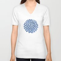 indigo V-neck T-shirts featuring Indigo by Color and Form