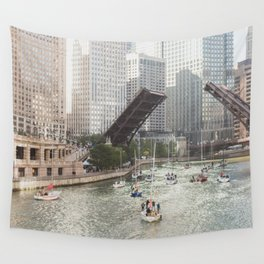 Chicago River, Bridges Up Wall Tapestry