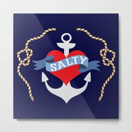 Old Salt Sailor Heart Metal Print