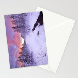 I - Sunrise over a river in winter near Levi, Finnish Lapland Stationery Cards