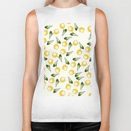 yellow cherries white pattern Biker Tank