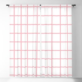 Coral Grid Pattern Blackout Curtain