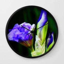 Purple Iris and Buds Wall Clock