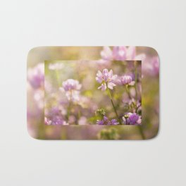 Wild pink Clover or Trifolium flowers Bath Mat