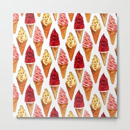 Ice Cream Pattern - Soft Serve Metal Print