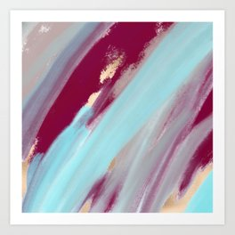 Abstract teal gold burgundy gray watercolor painting Art Print