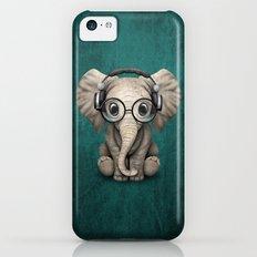 Cute Baby Elephant Dj Wearing Headphones and Glasses on Blue iPhone 5c Slim Case