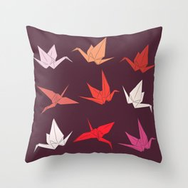 Japanese Origami paper cranes sketch, symbol of happiness, luck and longevity Throw Pillow