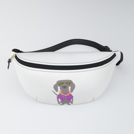 Aloha Weim in Hawaii Grey Ghost Weimaraner Dog Hand-painted Pet Drawing Fanny Pack