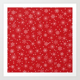 Red & White Snowflakes Pattern Art Print
