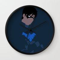 nightwing Wall Clocks featuring Nightwing Minimalism by IsabellaRose
