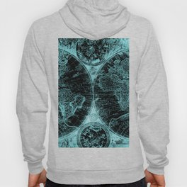 Antique World Map Turquoise Teal Blue Green Hoody