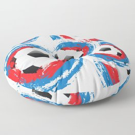 Football Ball and red, blue, white Strokes Floor Pillow