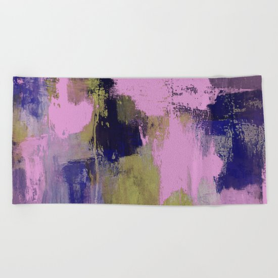 Wild Lilac - Abstract, textured, lilac, purple, blue and yellow oil painted artwork Beach Towel